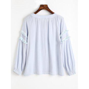 Tassels Embellished Bow Tie Collar Blouse - STONE BLUE ONE SIZE