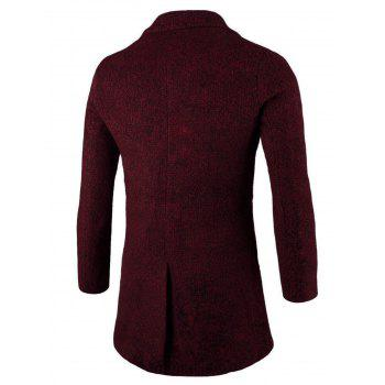 Two-Button Placket Wool Blend Coat - WINE RED XL