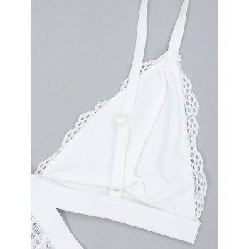 Lace Sheer Cutout Plunge Bodysuit - WHITE S