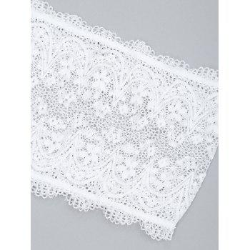 Lace Sheer Tube and Lingerie Thong - WHITE S