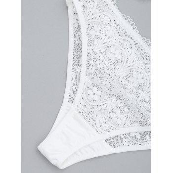 Lace Sheer Tube and Lingerie Thong - WHITE L