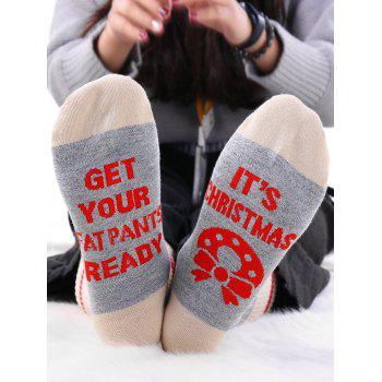 Pair Of Letter Graphic Knit Contrast Socks - GRAY GRAY