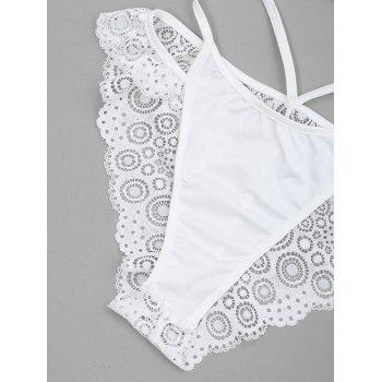 Sheer Lace Strappy Bra and Thong Set - WHITE M