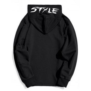 Style Graphic Side Zipper Hoodie - BLACK 2XL