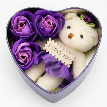3PCS Soap Roses Flowers and 1PC Bear in a Iron Box Valentine's Day Gift