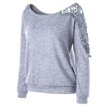 Sweat floral à empiècement en dentelle - Gris 2XL