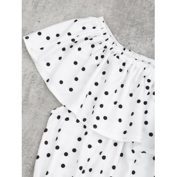 Off Shoulder Overlap Polka Dot Mini Dress - WHITE L