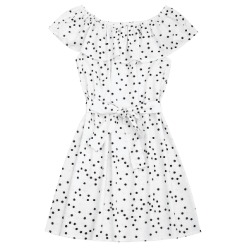 Off Shoulder Overlap Polka Dot Mini Dress - WHITE M