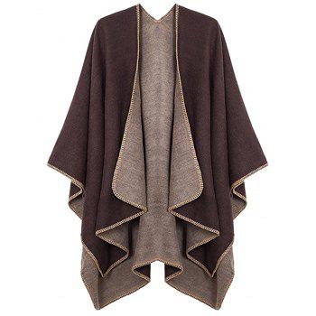 Plus Size Collarless Drap Front Poncho - COFFEE COFFEE