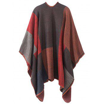 Plus Size Collarless Color Block Poncho - RED RED