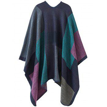 Plus Size Collarless Color Block Poncho - GREEN GREEN