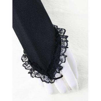 Lace Trim Ruffle Arm Sleeves - BLACK S