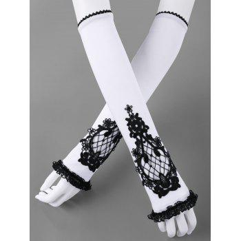 Two Tone Lace Panel Fingerless Arm Sleeves - WHITE AND BLACK WHITE/BLACK