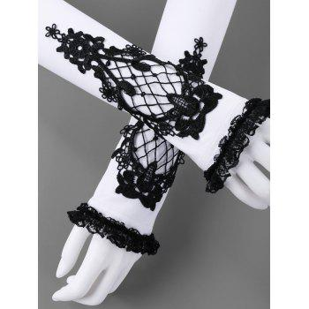 Two Tone Lace Panel Fingerless Arm Sleeves - WHITE/BLACK S