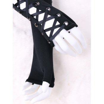 Lace Up Fingerless Arm Sleeves - BLACK S