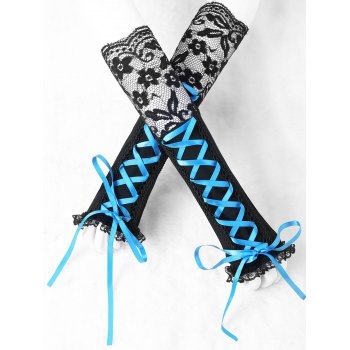 Lace Trim Fingerless Lace Up Arm Sleeves - BLUE AND BLACK BLUE/BLACK
