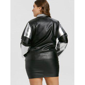 Plus Size Zipper Faux Leather Panel Jacket - SILVER/BLACK XL