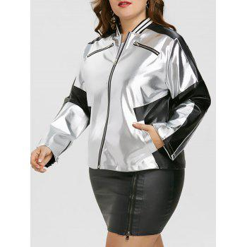 Plus Size Zipper Faux Leather Panel Jacket - SILVER AND BLACK SILVER/BLACK