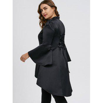 Plus Size High Low Lace Up Skirted Coat - BLACK XL