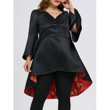 Plus Size High Low Lace Up Skirted Coat - BLACK BLACK