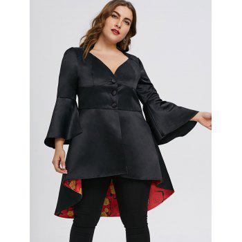 Plus Size High Low Lace Up Skirted Coat - BLACK 5XL