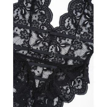 Backless High Cut Lace Sheer Bodysuit - BLACK M