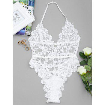 Backless High Cut Lace Sheer Bodysuit - WHITE WHITE