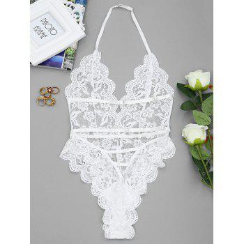 Backless High Cut Lace Sheer Bodysuit - WHITE M