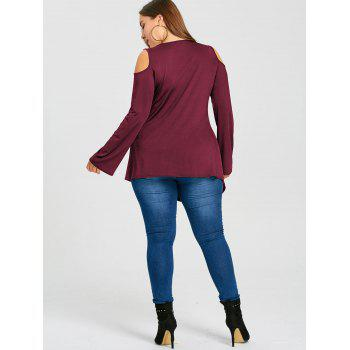 Plus Size Cold Shoulder Lace Up Tee - WINE RED 4XL