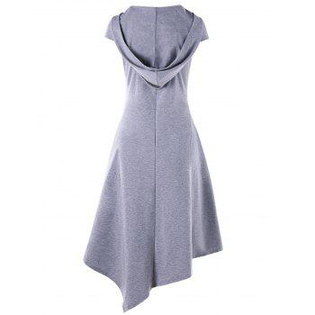 Hooded Criss Cross Cut Out Handkerchief Dress - LIGHT GRAY XL