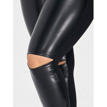PU Leather Panel Ripped Plus Size Pants - BLACK 2XL