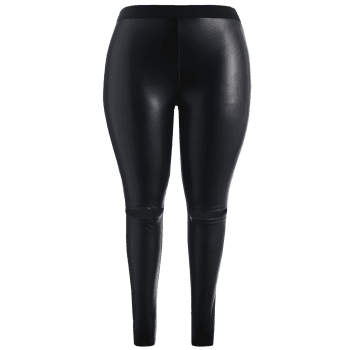 PU Leather Panel Ripped Plus Size Pants - BLACK 3XL