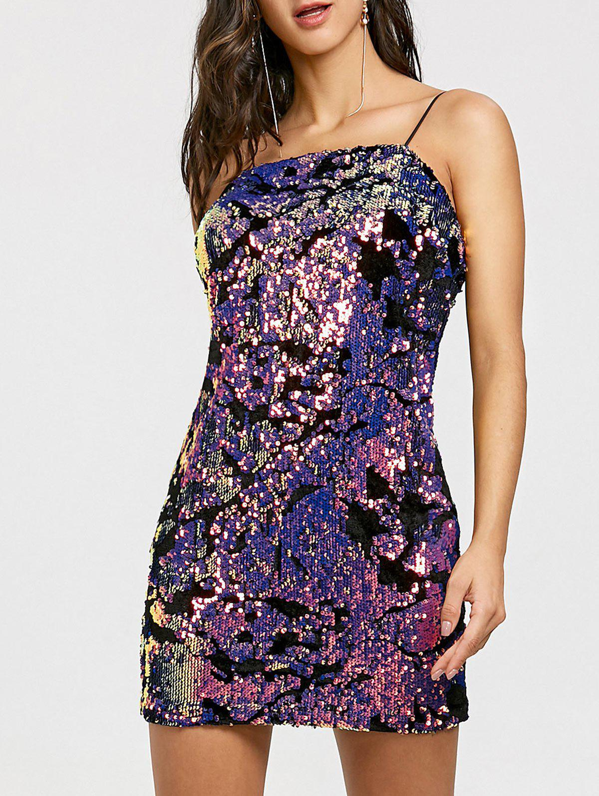 Mini Sequined Spaghetti Strap Dress - COLORMIX S
