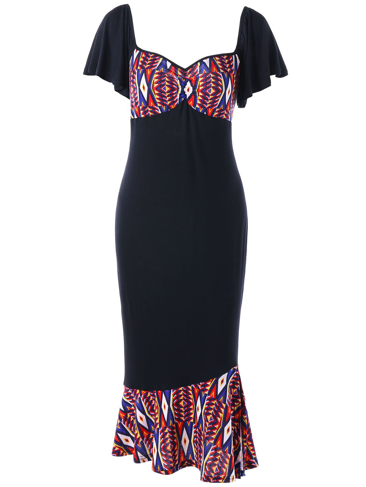 Printed Plus Size Bodycon Fishtail Dress - BLACK 2XL
