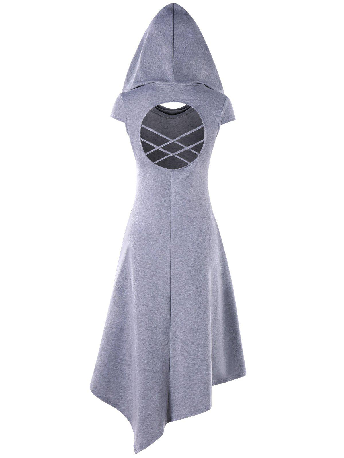 Hooded Criss Cross Cut Out Handkerchief Dress - LIGHT GRAY L