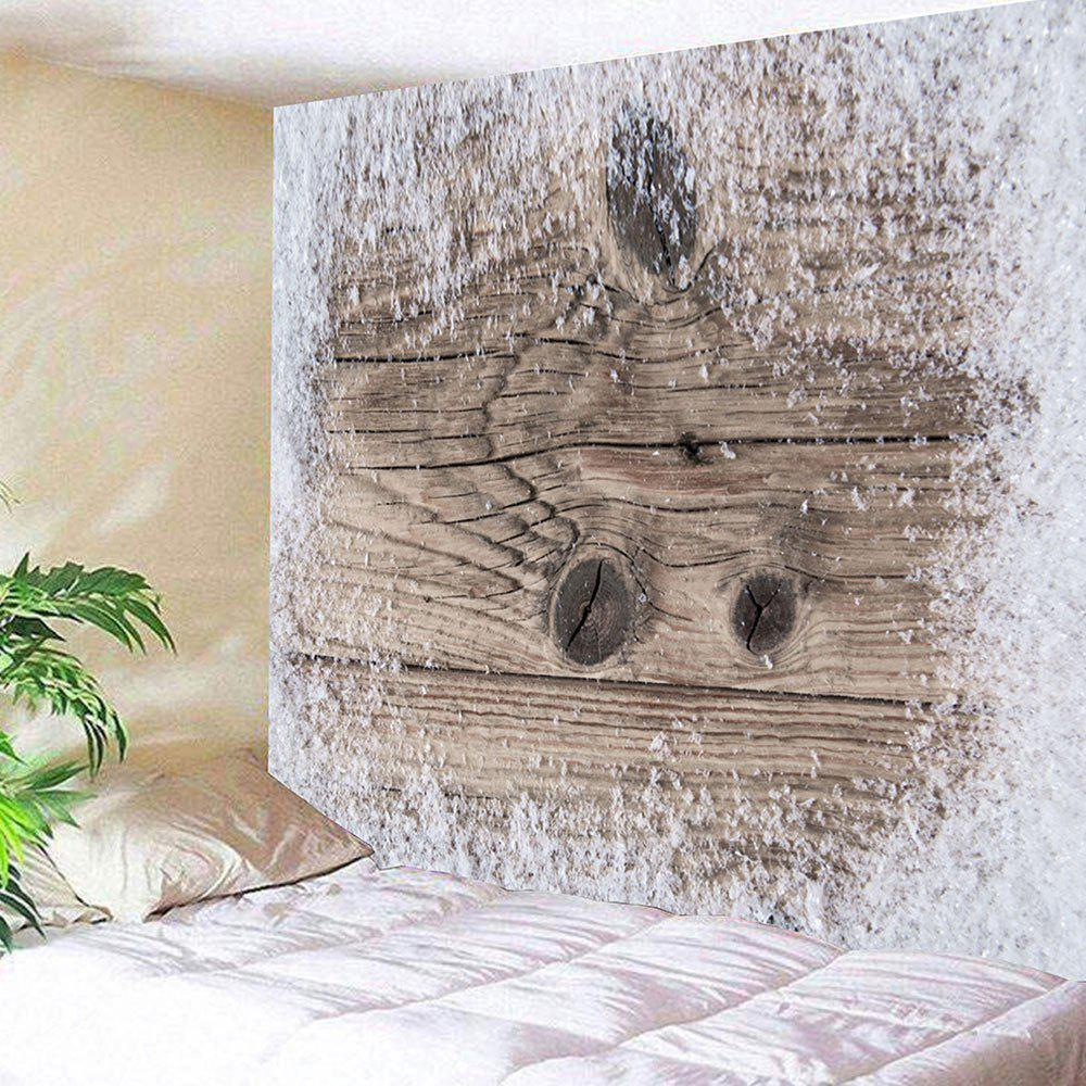 Snowflake Wooden Board Printed Wall Tapestry - PAPAYAWHIP W91 INCH * L71 INCH