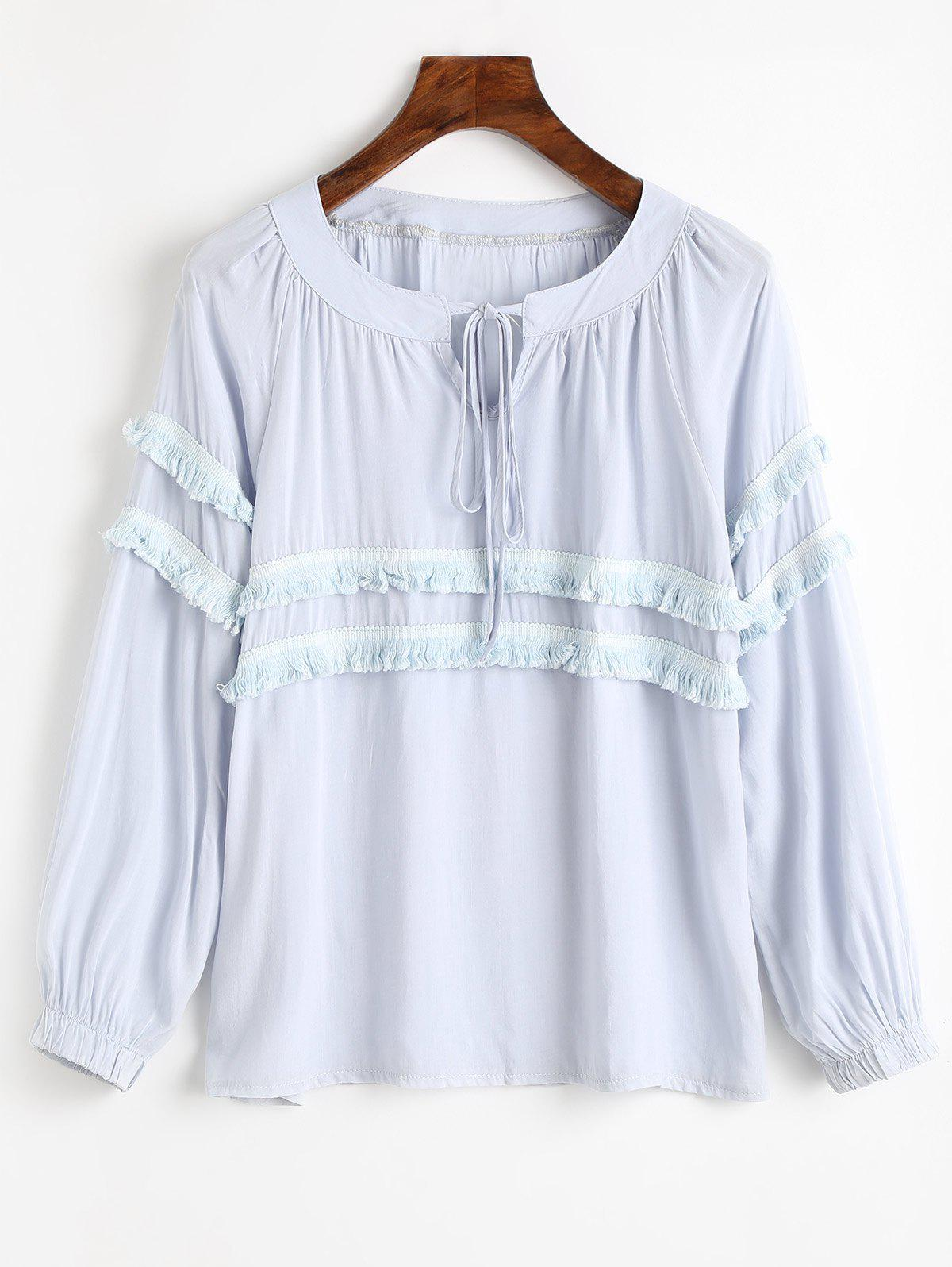 Tassels Embellished Bow Tie Collar Blouse bow tie detail striped blouse