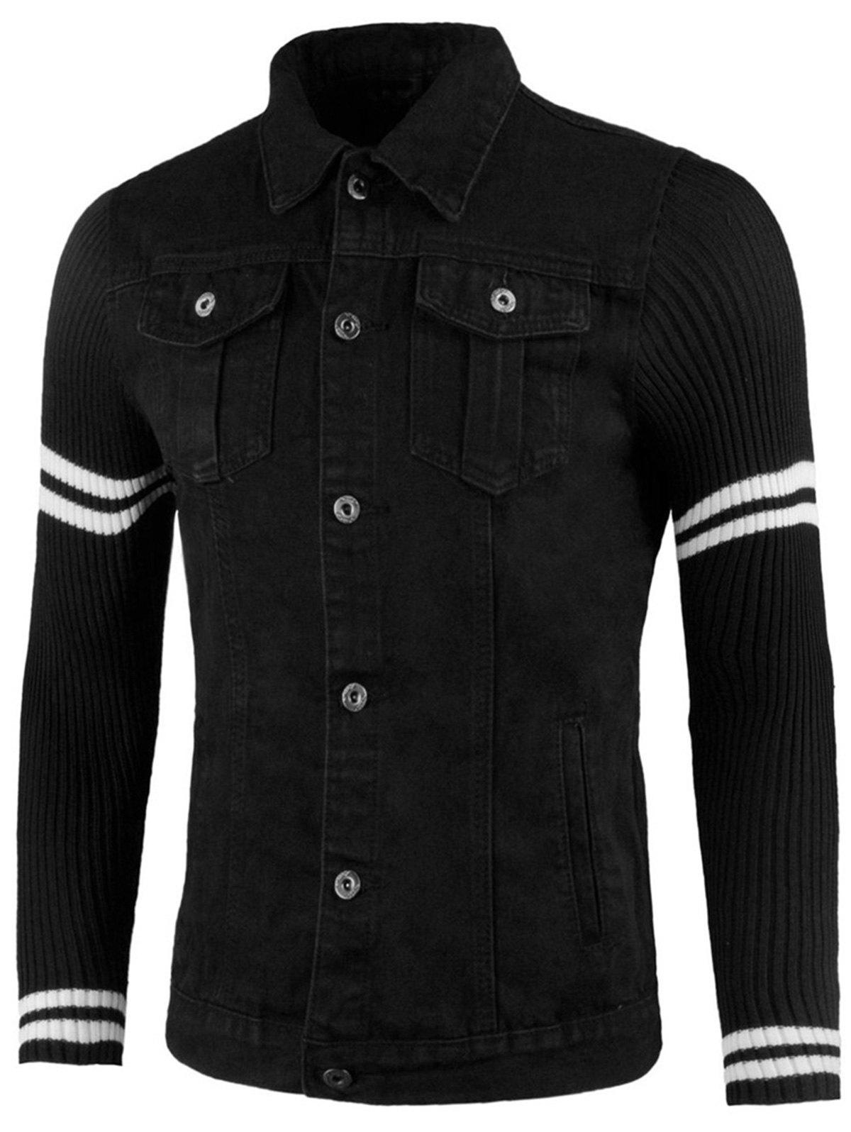 Sweater Panel Button Up Denim Jacket - BLACK 3XL