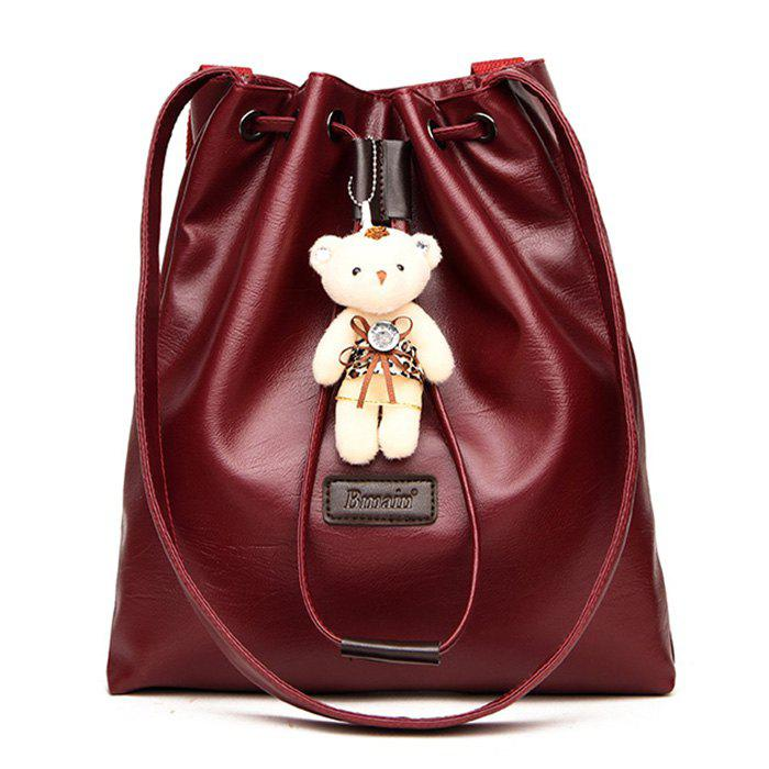 Bear Doll Decor Hanging Tote Bag - DEEP RED