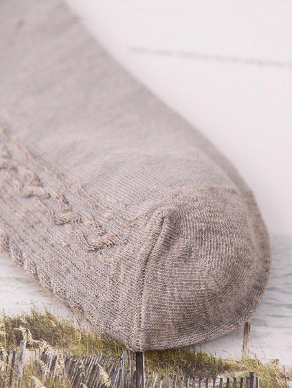 Pair of Simple Stripe Pattern Knitted Crew Socks - CADETBLUE