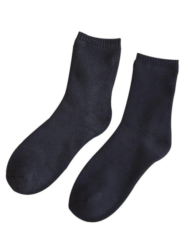 Pair of Pure Color Pattern Crew Socks - CADETBLUE