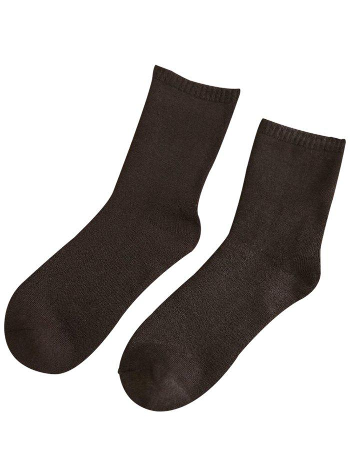 Pair of Pure Color Pattern Crew Socks - ESPRESSO