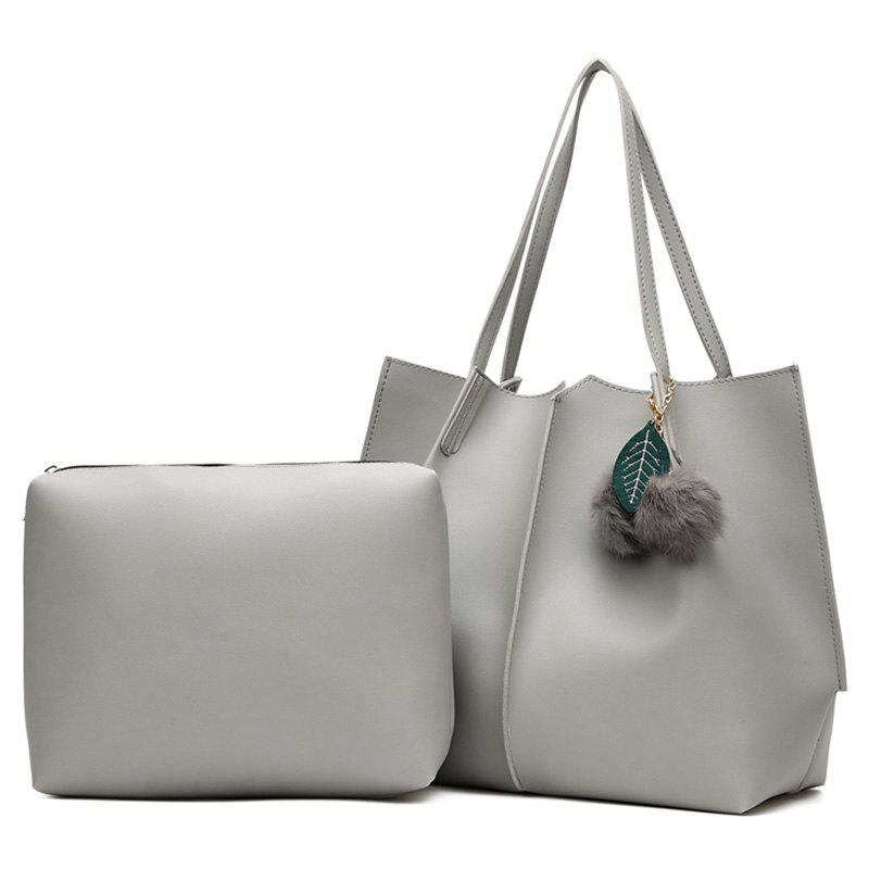 Pompom 2 Pieces PU Leather Shoulder Bag Set - GRAY
