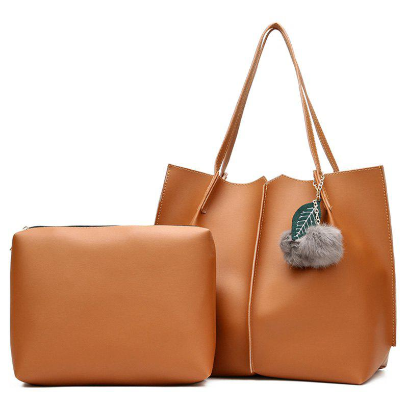 Pompom 2 Pieces PU Leather Shoulder Bag Set - BROWN