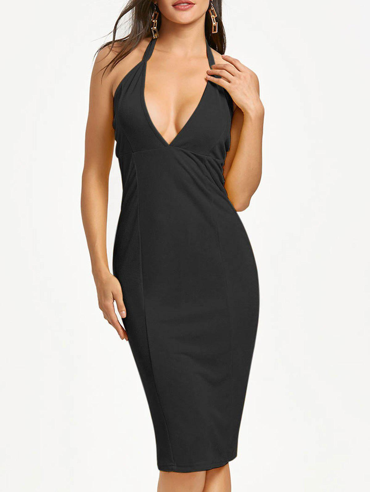 Cut Out Plunge Bodycon Dress v plunge cut out teddy