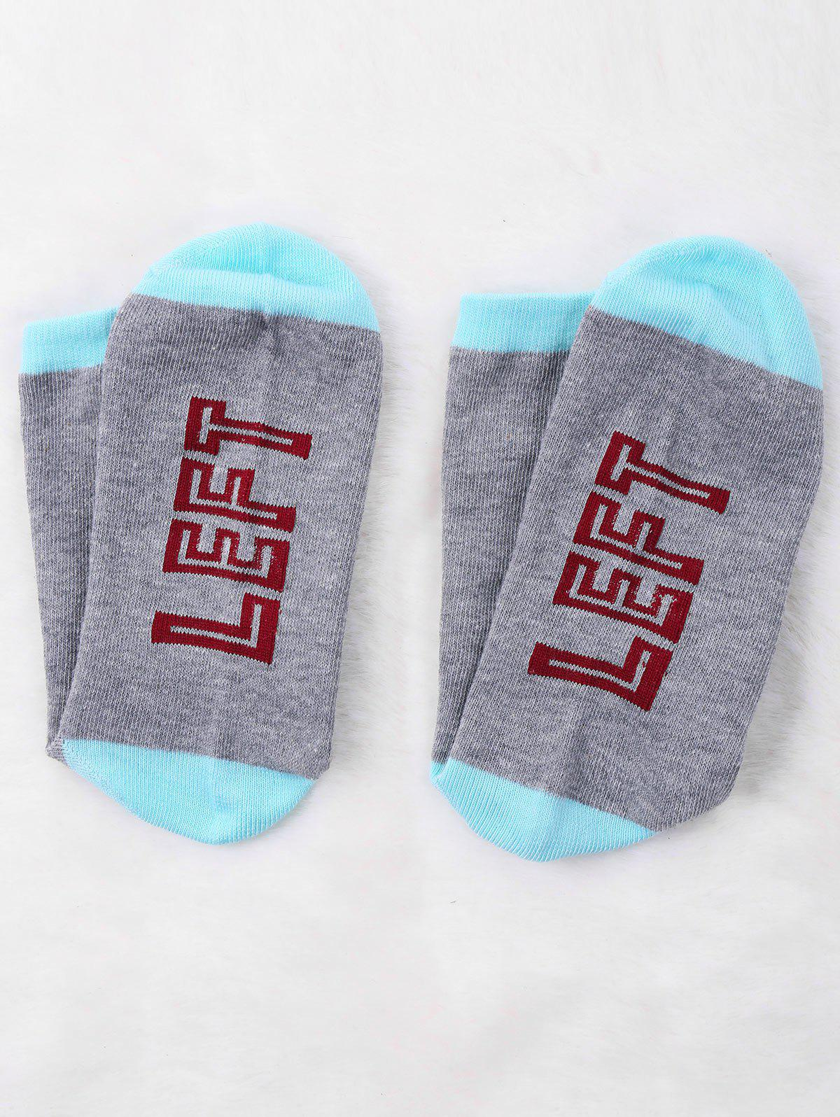 Letter Print Graphic Contrast Socks - GRAY