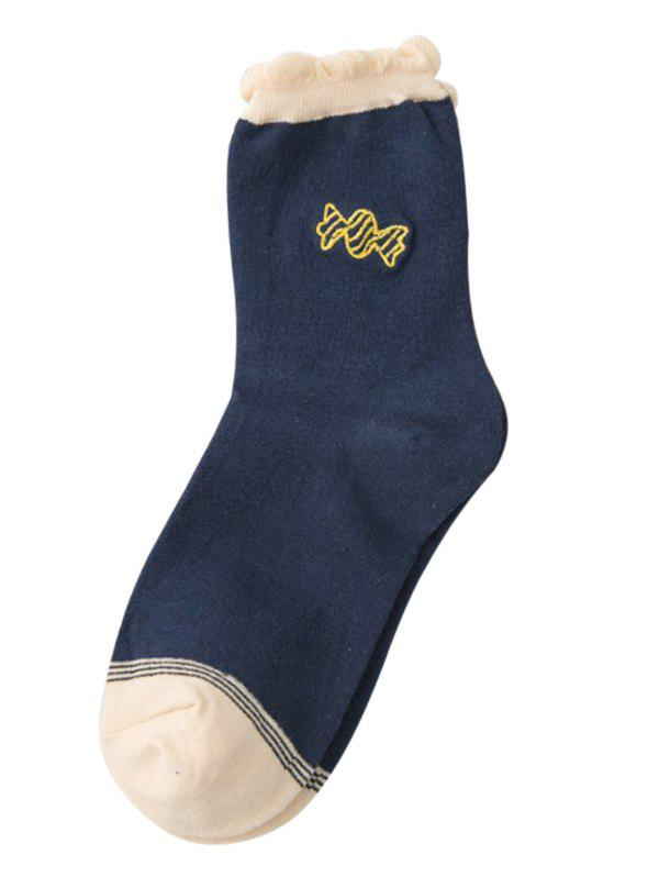 Cute Candy Embroidery Decorated Winter Socks - CADETBLUE