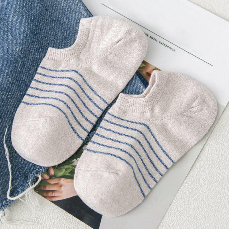 Simple Stripe Pattern Decorated Cotton Ankle Socks - BEIGE
