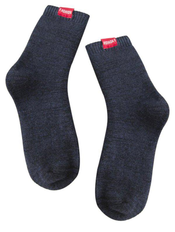 Pair of Label Decorated Cotton Blend Crew Socks - CADETBLUE