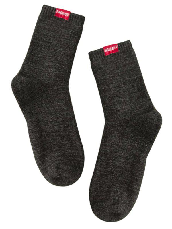 Pair of Label Decorated Cotton Blend Crew Socks - BLACK